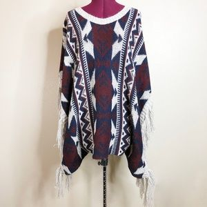 Elodie | Fringed Knit Geometric Pullover Poncho